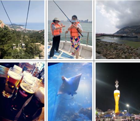 上图依次为:仰口缆车、海上垂钓、黄河之滨、青岛啤酒博物馆、海昌极地海洋馆、啤酒节